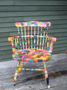 happy Eric Carle inspired chair- rocking chair, reading chair for reading center in classroom. (caterpillar art eric carle)