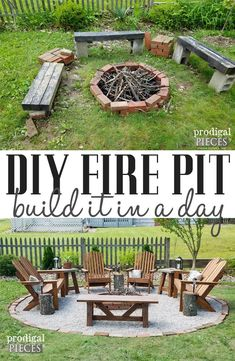 DIY Fire Pit ~ Backyard Budget Decor - Prodigal Pieces - Make your outdoor space inviting, safe, and cozy with this DIY Fire Pit tutorial with video by Prod - Fire Pit Ring, Diy Fire Pit, Fire Pit Backyard, Backyard Patio, Backyard Landscaping, Fire Pit Landscaping Ideas, Inexpensive Landscaping, Florida Landscaping, Outside Fire Pits