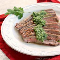 Skinny Cumin Steak with Chimichurri Sauce