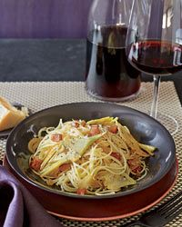 Spaghetti with Artichokes and Pancetta Recipe on Food & Wine