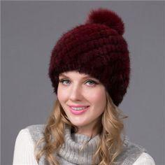 85b03712016 Russian Real Mink Fur Hat for Women Winter Mink Pom Pom Hats Fur Hat Fox Fur  Hat for Girls BZ-05  HatsForWomenWinter