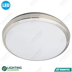 Brushed Nickel - Warm White Martec Lunar 40W Dimmable LED Indoor/Outdoor Oyster…