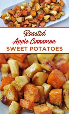 These Roasted Apple Cinnamon Sweet Potatoes combine the best flavors fall has to offer! These Roasted Apple Cinnamon Sweet Potatoes combine the best flavors fall has to offer! Healthy Holiday Recipes, Apple Recipes, Thanksgiving Recipes, Whole Food Recipes, Vegetarian Recipes, Cooking Recipes, Sweet Potato Recipes Healthy, Halloween Food Recipes, Recipes With Sweet Potatoes