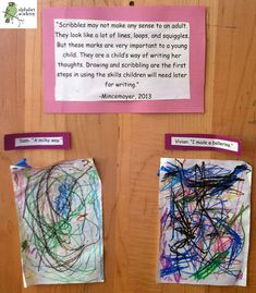 """Scribbles may not make any sense to an adult. They look like a lot of lines, loops, and squiggles. But these marks are very important to a young child. They are a child's way of writing her thoughts. Drawing and scribbling are the first steps in using the skills children will need later for writing."" - Mincemoyer, 2013 — Alphabet Academy South Twos http://thealphabetacademy.com #reggio-inspired #scribbles #importance #mincemoyer #twos"