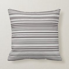 Gray and White Simple Modern Striped Pattern Throw Pillow - tap to personalize and get yours #ThrowPillow #gray #white #grey #and #stylish White Throws, White Throw Pillows, Accent Pillows, Grey And White, Gray, White Light, Custom Pillows, Grey Stripes, Home Gifts