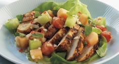 BBQ GRILLING #BBQ #Grilling Chicken Breast Salad with Mixed Melon Salsa