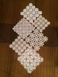 This Pin was discovered by Muy Hey, I found this really aweso I think the table runner done in square doilies is very interesting. Vintage Doily Runner Wedding Table by AccessoriesInLove on Etsy Crochet Round, Filet Crochet, Crochet Motif, Hand Crochet, Crochet Lace, Crochet Stitches, Crochet Patterns, Table Runner And Placemats, Crochet Table Runner