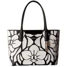 Calvin Klein Saffiano Tote (Black/White Floral) Tote Handbags (1.505 HRK) ❤ liked on Polyvore featuring bags, handbags, tote bags, structured tote, floral tote bag, floral handbags, perforated tote bag and floral purse