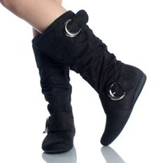 Women's Black Faux Suede Mid Calf Dual Buckle Boots (5.5)