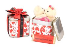 Tin Box with a couple teddy and Happy Valentines day milk chocolate bar