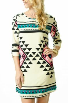 tribal pattern shift dress