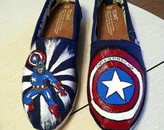 captain america toms | Captain America Custom Painted Supe r Hero TOMS ...