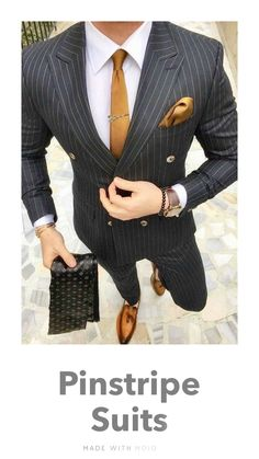 Double Breasted Pinstripe Suit, Black Pinstripe Suit, Black Suit Men, Mens Fashion Suits, Mens Suits, Men's Business Outfits, Business Suits, Suit Combinations, Dress Suits For Men