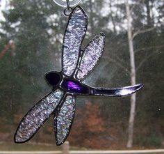 Stained glass sun catcher - dragonfly, purple glass, gifts under 20 Dragonfly Stained Glass, Stained Glass Ornaments, Stained Glass Suncatchers, Glass Butterfly, Stained Glass Designs, Stained Glass Projects, Stained Glass Patterns, Stained Glass Art, Mosaic Glass