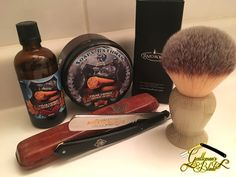 Shaving soap: Soapy Bathman Cigar Lounge with shea Aftershave: Soapy Bathman Cigar Lounge Straight razor: near-mint Puma 69 Pour Barbe Très Dure (vintage) Shaving brush: RazoRock Plissoft 'Monster' synthetic (new) Straight razor honing: finished on a blue green Escher stone