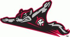 Richmond Flying Squirrels Primary Logo (2010) - A flying squirrel in black, grey and red with alternate R-acorn logo on chest