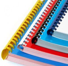 Shop from our large selection of comb binding supplies today to stock up on plastic GBC combs in a variety of colors and sizes, all at competitive prices. Plastic Binder, Coil Binding, Material Didático, Book Design Layout, Design Layouts, Print Finishes, Creative Industries, Bookbinding, Zine