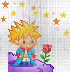 Point de croix Le petit prince Cross stitch The little Prince Beaded Cross Stitch, Cross Stitch Baby, Cross Stitch Charts, Cross Stitch Embroidery, Cross Stitch Patterns, Pixel Art, Beading Patterns, Embroidery Patterns, Baby Embroidery