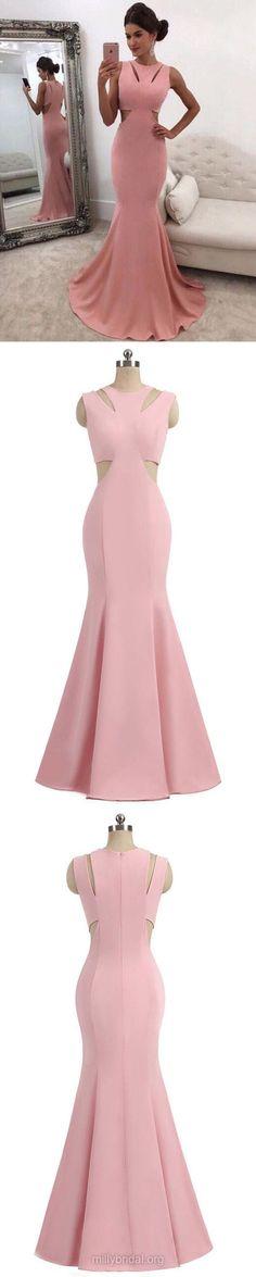 Pink Prom Dresses, Long Prom Dresses, 2018 Prom Dresses For Teens, Trumpet/Mermaid Prom Dresses Scoop Neck, Silk-like Satin Prom Dresses Ruffles #formaldress #pinkdress