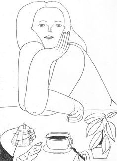 Giada Ganassin contour line portraits: could start off with blind contour and rework from there, adding color.