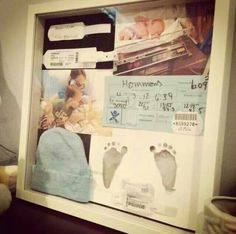 Make a shadow box with all the souvenirs from your baby's birth!