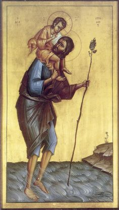 Full of Grace and Truth: St. Christopher the Great Martyr of Lycia Religious Images, Religious Icons, Religious Art, Byzantine Icons, Byzantine Art, Saint Christopher, Saint Joseph, Art Through The Ages, Christ Is Risen