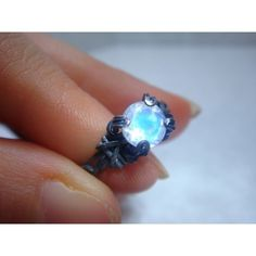 Rainbow Moonstone Sterling Silver Ring ❤ liked on Polyvore featuring jewelry, rings, sterling silver rings, sterling silver jewellery, blue ring, blue jewelry and blue sterling silver rings
