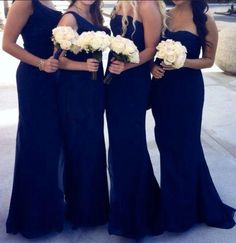 mismatched navy mermaid formal long Bridesmaid dress, BD454  #fashion #shopping #dresses #eveningdresses #2018prom