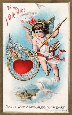 Items similar to Vintage Valentine Postcard, Cupid Netting a Large Winged Heart, 1911 on Etsy Valentine Cupid, Valentine Images, Happy Valentines Day Card, Valentines Greetings, Vintage Valentine Cards, Valentines Art, Valentines Day Decorations, Vintage Greeting Cards, Vintage Ephemera
