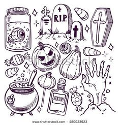 -Set of different attributes of Halloween. hand-drawn illustration Set of different attributes of Halloween. hand-drawn illustration See it Halloween Doodle, Halloween Tags, Halloween Pictures, Cute Halloween Drawings, Halloween Tattoo Flash, Halloween Tombstones, Halloween 2019, Halloween Costumes, Halloween Illustration