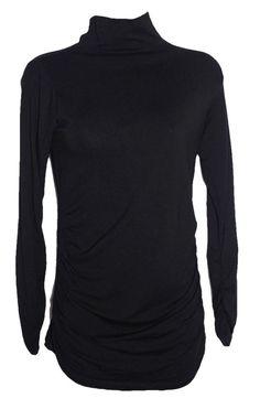 002ea6a11e6c3 ISABELLA OLIVER Black Ruched Long Sleeve L/S Turtleneck Jersey Top 1 / S #