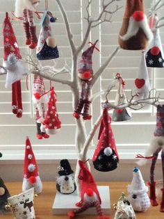 Tree gnomes sitting in the branches - waiting for Christmas!