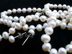Sterling Silver Hand Knotted White Pearl 3 Piece Set Vintage Necklace Bracelet   eBay