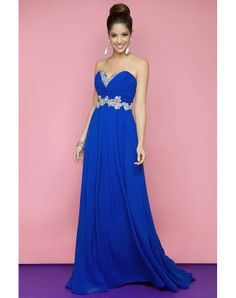 A Line Sweetheart Floor Length Chiffon Royal Blue New ArrivalProm DressesOutlet