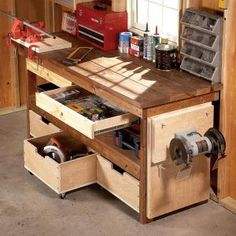 Upgrade any workbench with these DIY enhancements. 7 simple projects enhance functionality and increase the storage capacity of your workbench. Most can be built in a day; some in less than 15 minutes! Use castors on bottom drawer and a sliding system on second highest drawer that uses bottom drawer for support when fully extended. Use tracks for top drawers. Very good ideas.