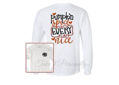 Pumpkin Spice Monogram Tee - Monogrammed T-Shirt - Long Sleeve Monogrammed T Shirt - Long Sleeved Tee - Monogram Fall Shirt Monogram Clothing, Heat Press, Heat Transfer Vinyl, How To Apply, How To Make, Cool Tees, Pumpkin Spice, Must Haves, Commercial