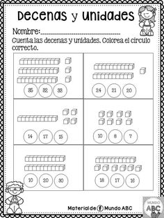 Math Practice Worksheets, 1st Grade Worksheets, Kindergarten Math Worksheets, Worksheets For Kids, School Worksheets, Math Activities, 1st Grade Science, 1st Grade Math, Tens And Units