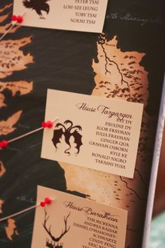The Seating Arrangements: create your own seating chart or escort cards with guests arranged by their noble houses (roaring dragon optional) - by Pat Dy Photography (follow them on Instagram at #patdy11 || Game of Thrones Wedding || Bridal Guide; Instagram ... #GameOfThronesWedding; #MedievalWedding