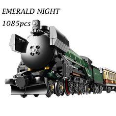 LEPIN 21005 Technic Series Emerald Night Train Model Building Kits Block Bricks Toys for Children gift Compatible 10194 #Affiliate