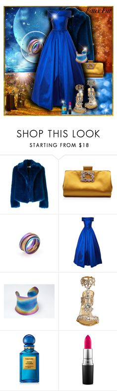 """""""Saturday night gala"""" by giampourasjewel ❤ liked on Polyvore featuring Dries Van Noten, Roger Vivier, Tom Ford, MAC Cosmetics, polyvorecommunity and fauxfur"""