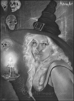 Vigil Witch , Katerina Art ,Fantasy and Portraiture art by Katerina Art,The beautiful pencil art by Katerina Koukiotis