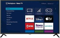 Watch exactly what you want, how you want, when you want it. Westinghouse Roku TV WR42FX2002. Plus, Roku TV makes it easy to cut the cord with low-cost, live- streaming cable alternatives like Sling TV and YouTube TV. Smart Tv, Lg 4k, Tv Game Console, Tv Built In, Sling Tv, Dolby Audio, Netflix Tv, Netflix Codes, Tv App