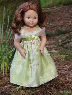 18 Inch Doll Green Satin Doll Princess Gown von RainbowLilyDesigns