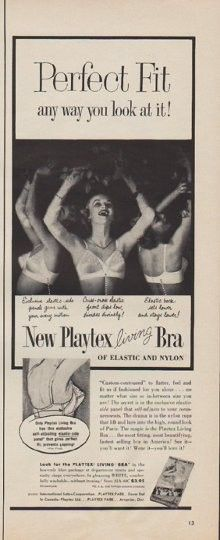 "Description: 1955 PLAYTEX vintage print advertisement ""Perfect Fit"" ""Perfect Fit any way you look at it! New Playtex living Bra of elastic and nylon. International Latex Corporation."" Size: The dimensions of the half-page advertisement are approximately 5.5 inches x 14 inches (14 cm x 36 cm). Condition: This original vintage advertisement is in Very Good Condition unless otherwise noted."