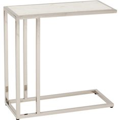 Echelon Sofa Hugger End Table* $399.00 Shown in:White Material detail:Marble Top Leg Finish:Polished Metal Dimensions:24w 11d 24.25h Item No:99970 Availability:Special Order Only