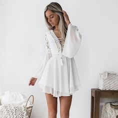 Women Vintage Mini Lace Dress Criss Cross Bandage Lace Semi-sheer V-Ne – Ozzy Bella All Great Apparel