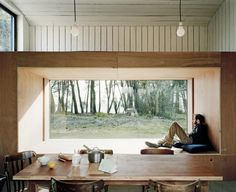 Reading Niche.  Raum Architects elegant oyster shack.  A temporary dwelling and work space for an oyster farmer.