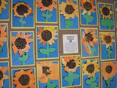 Artolazzi: 1st grade, first graders studied sunflowers, plant parts and lines! Can you find the zigzag, curved, dotted and vertical lines in their paintings?