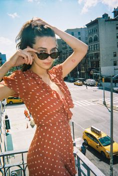 Dreamgirl Devon Carlson wearing the Valentina Rust Spot, photographed by Alexandra Spencer.