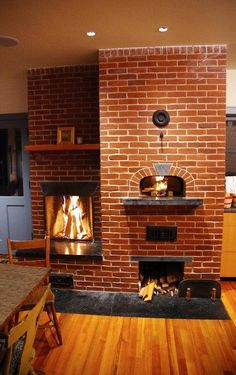 Love the Industrial look coupled with Recycled pieces, and Sawmill logs and beams. Little Rumford Fireplace / Le Panyol Wood Fired Oven / Masonry Heaters / Brick Rumford Fireplace, Brick Fireplace, Fireplace Design, Outdoor Fireplaces, Brick Wall, Indoor Pizza Oven, Outdoor Oven, Wood Oven, Wood Fired Oven